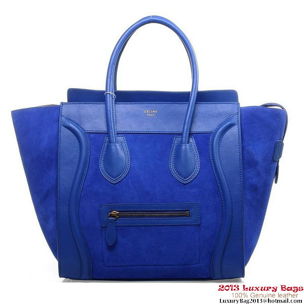 Celine Luggage Mini Boston Tote Bags Suede Leather Blue