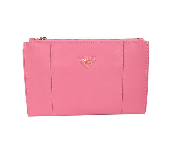 PRADA Saffiano Calf Leather Clutch BP625 Pink