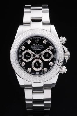 Rolex Daytona Mechanism Silver Bezel Black 39mm Watch-RD4014