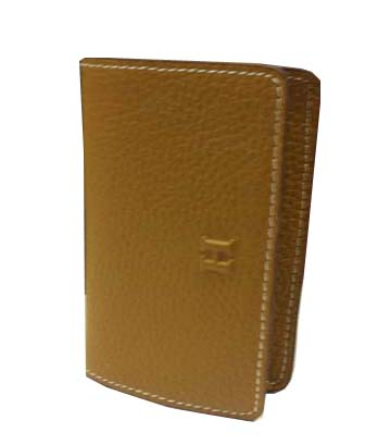 Hermes Grainy Leather Business Card Holder H887 Wheat
