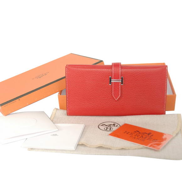 Hermes Bearn Japonaise Smooth Leather Tri-Fold Wallet H308 Red