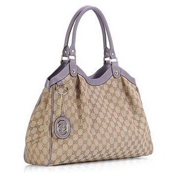 Gucci Sukey GG Fabric Large Bag 211943 Light Purple