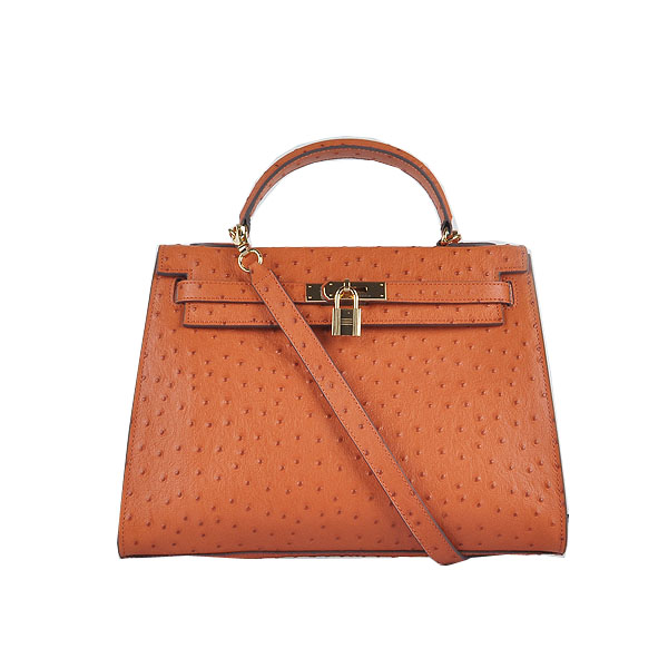 Hermes Kelly 32cm Shoulder Bags Orange Ostrich Leather Gold