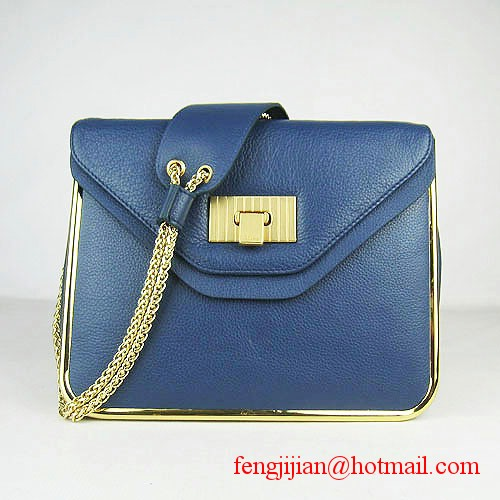 Chloe Sally Calf Leather Shoulder Bag Blue 50898