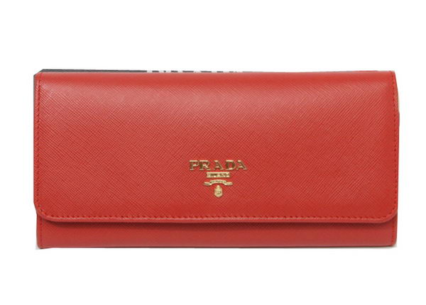 Prada Saffiano Leather Bifond Wallet 1M11335 Red