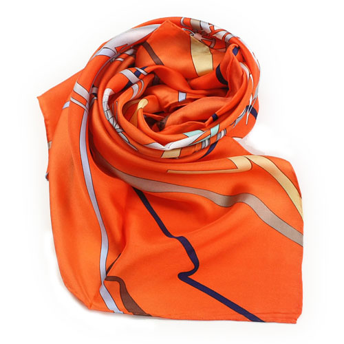 2011 Hermes Silk Scarf WJH061 Orange