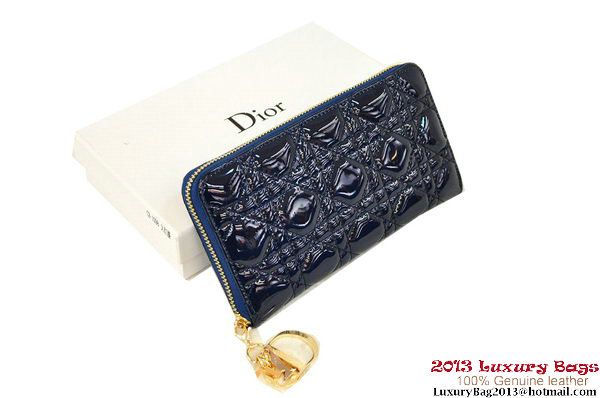 Lady Dior Escapade Wallet Patent Leahter D0082 RoyalBlue