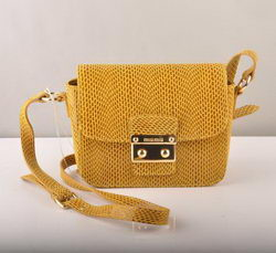 Miu Miu Mini Shoulder Bags Yellow Snake Veins 7429