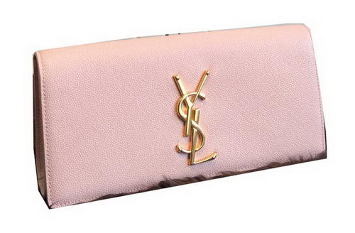 YSL Classic Monogramme Clutch Grainy Leather 311213 Pink