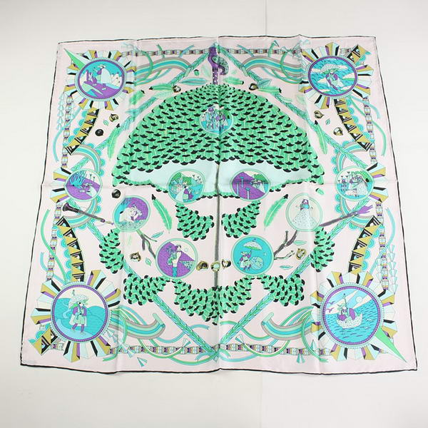 Hermes Scarves Silk Broadcloth WJH053 White