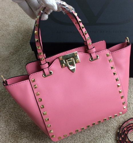 Valentino Garavani Rockstud mini Tote Bag Original Leather VG1918 Pink