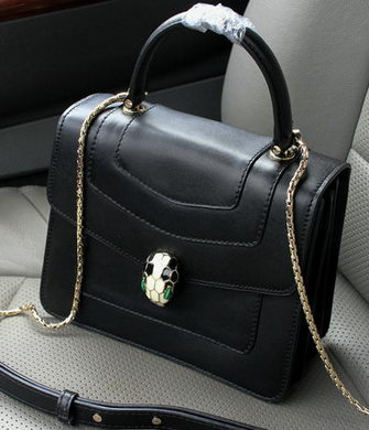 2015 BVLGARI Serpenti Forever Bag Original Leather BG9258 Black