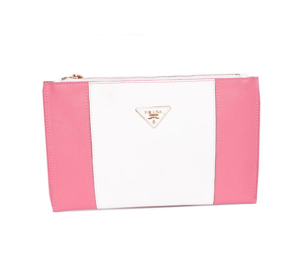 PRADA Saffiano Calf Leather Clutch BP625 Pink&White