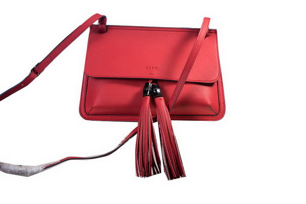 Gucci Bamboo Daily Leather Flap Shoulder Bags 370826 Red