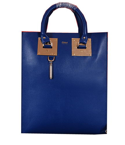 CHLOE Smooth Calfskin Leather Tote Bag 8679L Royal