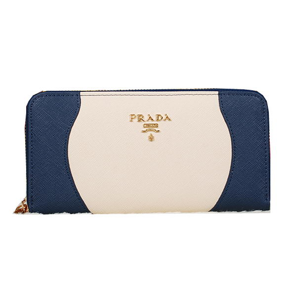 Prada Saffiano Leather Wallet 1M0506C RoyalBlue&White