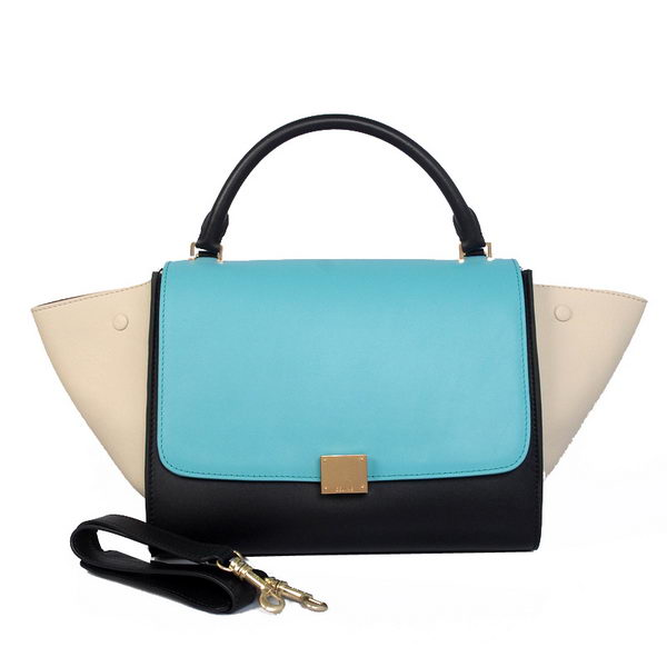 Celine Trapeze Bag Original Calfskin Leather C008B Blue&Black&White