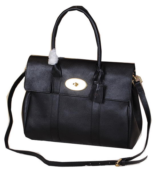 Mulberry Bayswater Tote Bag Natural Leather 5988 Black