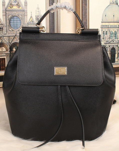 Dolce & Gabbana SICILY Litchi Leather Backpack BB50168 Black