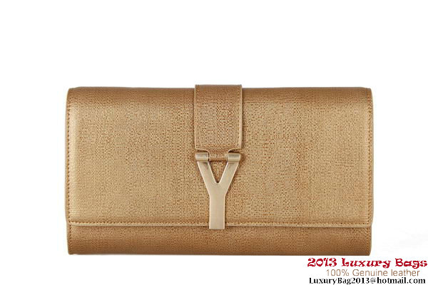 YSL Chyc Travel Case in Light Gold Claf Leather