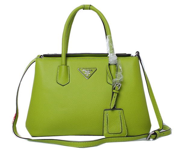 Prada Twin Grainy Leather Tote Bag BN1218 Green