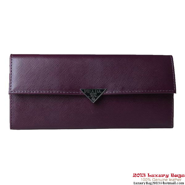 Prada Saffiano Leather Calf Leather Bifond Wallet 1M1146 Purple