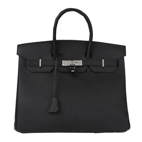 Hermes Birkin 35CM Tote Bag Black Original Leather H35 Silver