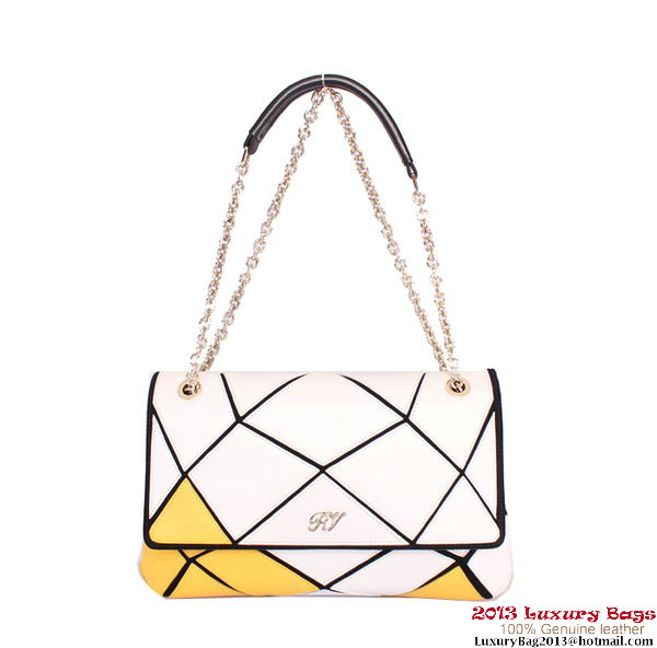 ROGER VIVIER Prismick Medium Calskin Leather Bag RV3608 White&Yellow