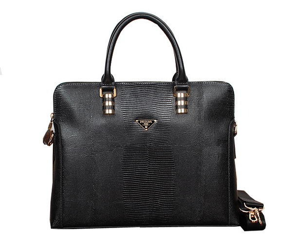 Prada Lizard Vein Calf Leather Briefcase 50371 Black