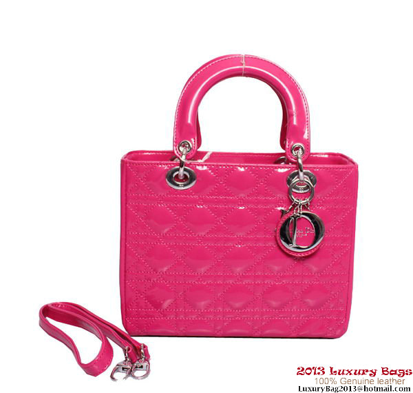 Lady Dior Medium Bag Patent Leather D6321 Rosy