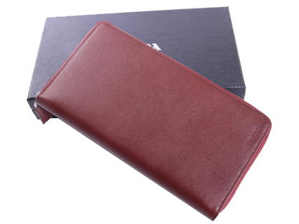 Prada Saffiano Calf Leather Document Holder 2M1220A Burgundy