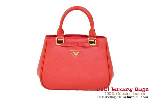Prada BN2245 Red Saffiano Calf Leather Tote Bag