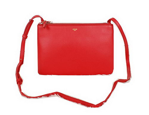 Celine Trio Calfskin Leather Shoulder Bag C27002 Red