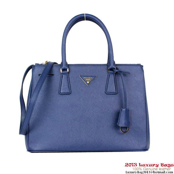 2013 Prada BN2274 Dark Blue Saffiano Calfskin Leather Tote Bag