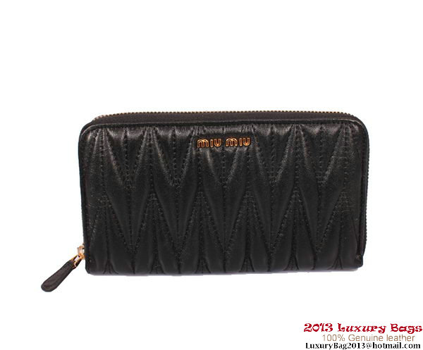 miu miu Matelasse Shiny Calf Leather Wallet 8010 Black