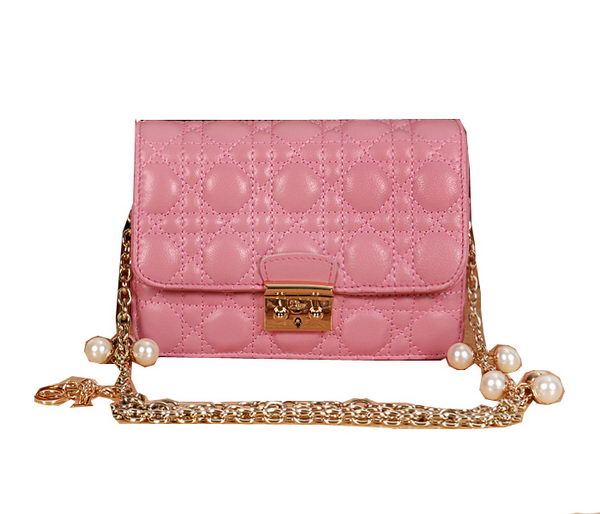 MISS DIOR Shoulder Bag in Vert Vif Lambskin D6363 Pink