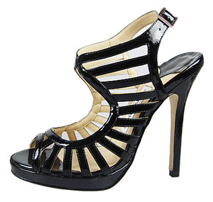 Jimmy Choo Keenan Patent Leather Sandals Black