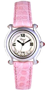 Chopard Happy Sport Series Diamond Steel Ladies Swiss Quartz Wristwatch 278245-21 in Pink