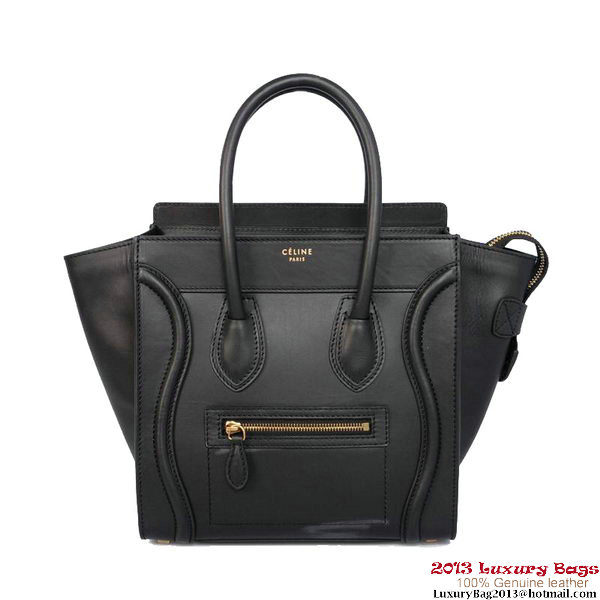 Celine Luggage Mini Shopper Bag Calfskin C1188D Black