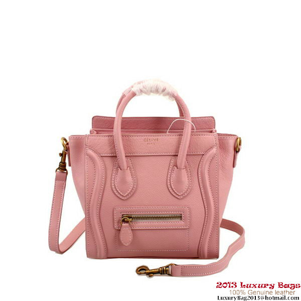 Celine Luggage Nano Boston Pink Clemence Leather Bags