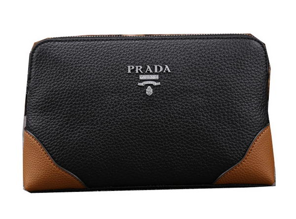 Prada Grainy Calfskin Leather Clutch P88272 Black&Wheat