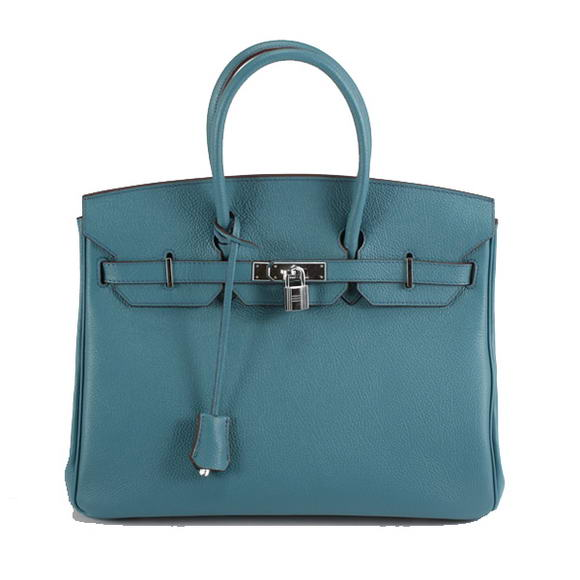 Hermes Birkin 35CM Smooth Leather Handbag 6089 Blue Silver