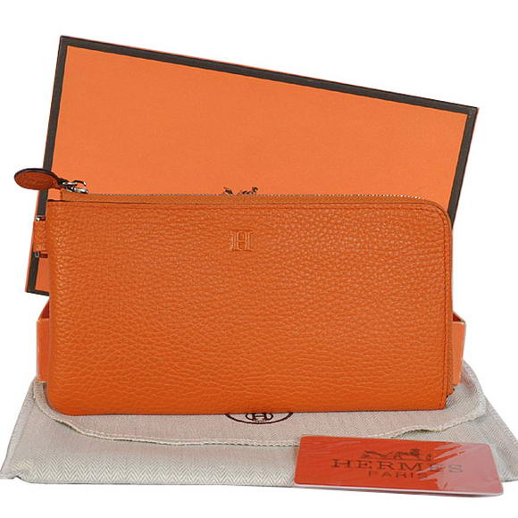 Hermes Zipper Cards Wallet Togo Leather A908 Orange