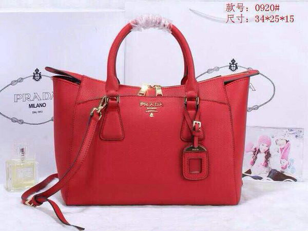 Prada Grainy Leather Tote Bag BN0920 Red