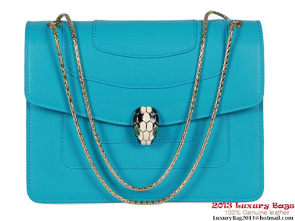 BVLGARI B35293 Light Blue Nappa Leather Shoulder Bag