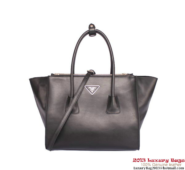 Prada Smooth Glace Calf Leather Tote Bag BN2619 Black