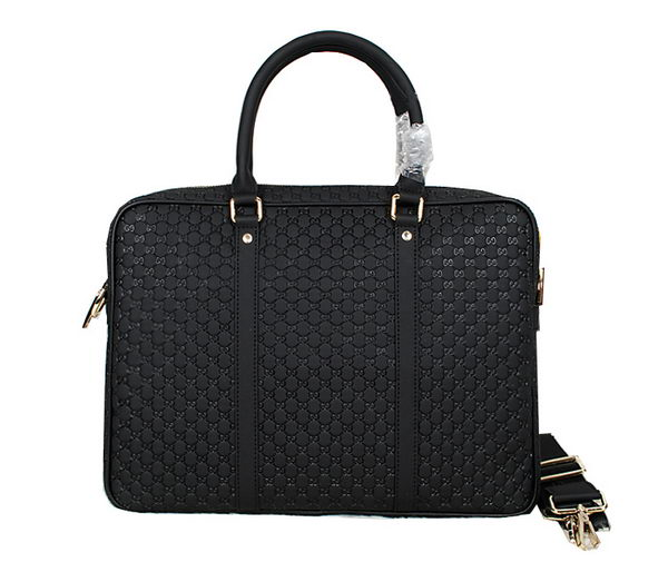Gucci Microguccissima Travel Business Briefcase Bag 201480 Black