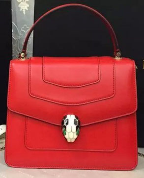 2015 BVLGARI Serpenti Forever Bag Original Leather Red
