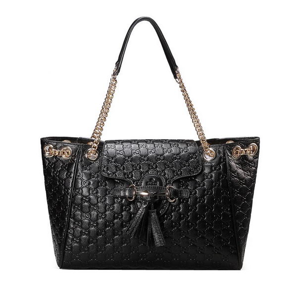 Gucci Emily Guccissima Leather Shoulder Bag 336757 Black