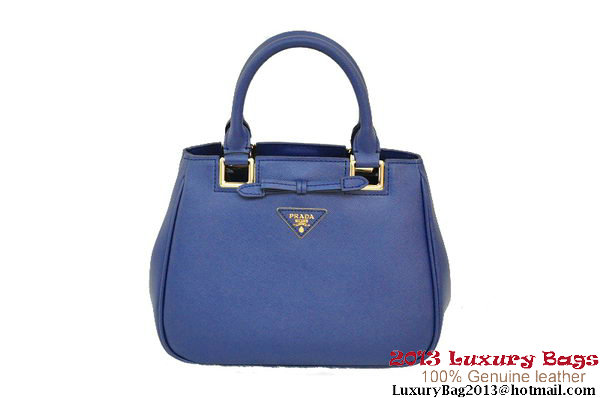 Prada BN2245 RoyalBlue Saffiano Calf Leather Tote Bag
